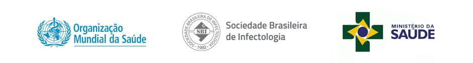Logos Sociedade Brasileira de Infectologia, Ministério da Saúde e Organização Mundial de Saúde