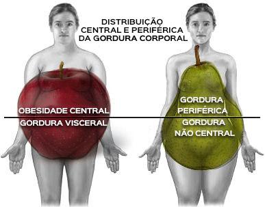 Distribuição central e periférica de gordura corporal